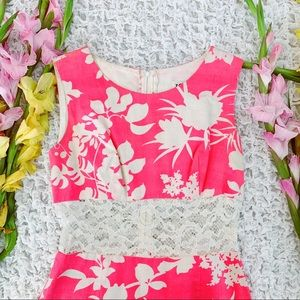 Vtg 60s Neon Pink Floral Lace Waistband Mini Dress